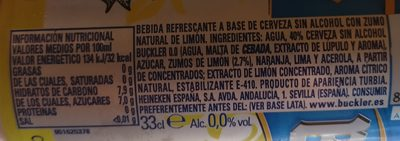 Buckler Radler-spain 0% alcohol - Ingredients