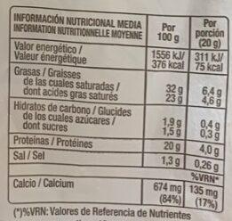 Queso de mezcla - Voedingswaarden - es