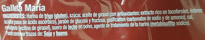 Galleta María - Ingredientes - es