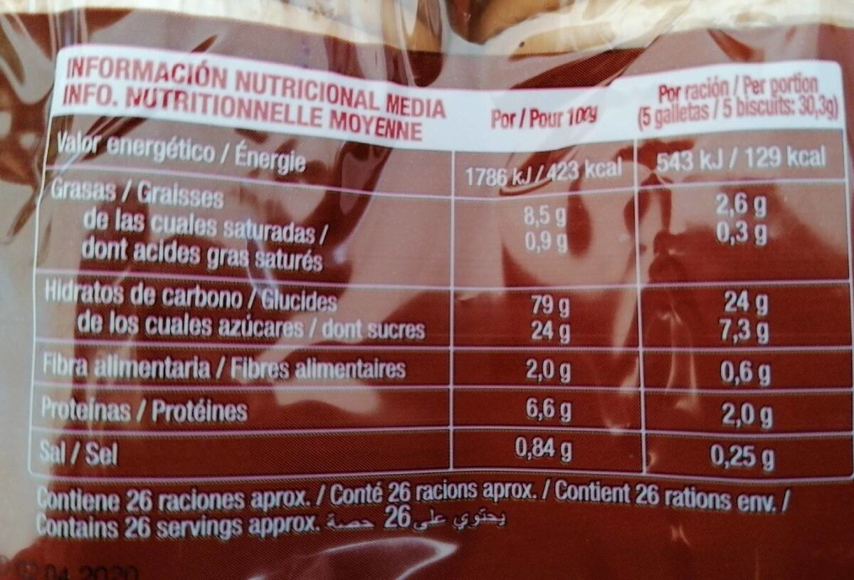 Galleta María - Información nutricional - es