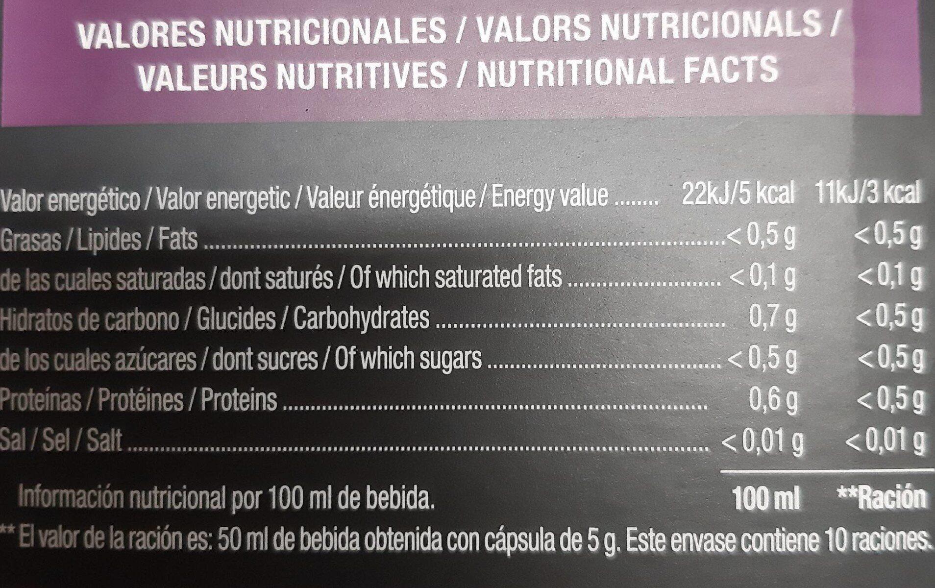 Café Ristretto Gourmet - Valori nutrizionali - es