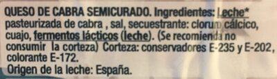Queso de cabra semicurado - Ingredientes