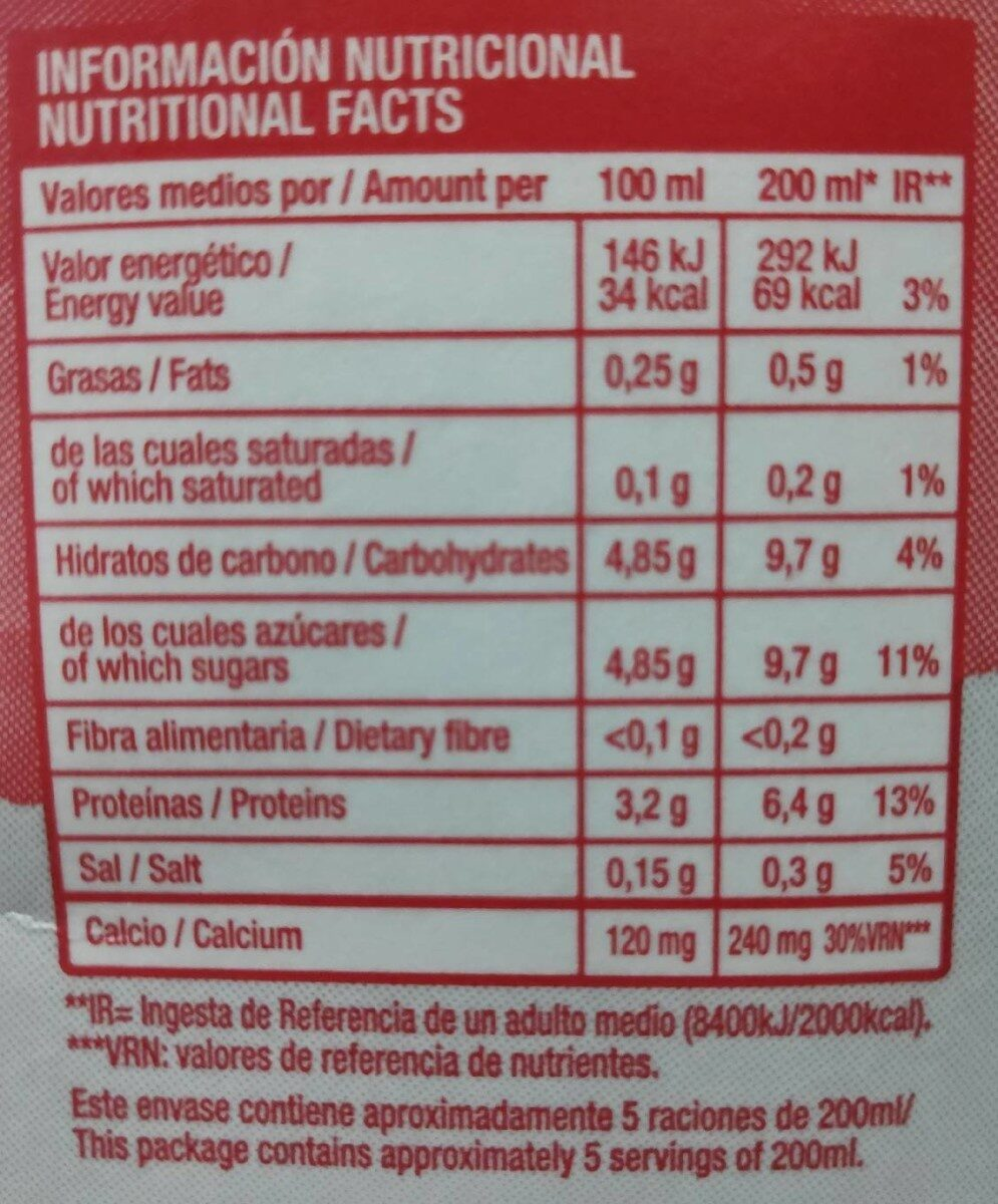 Leche UHT desnatada - Nutrition facts
