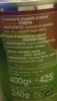 Alcachofas Gourmet 6 / 8 Piezas - Ingrédients - fr