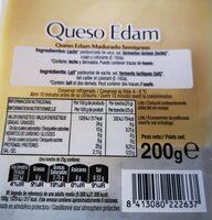 Queso Edam Gourmet - Informació nutricional
