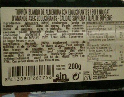 Turrón Artesano calidad suprema - Nutrition facts