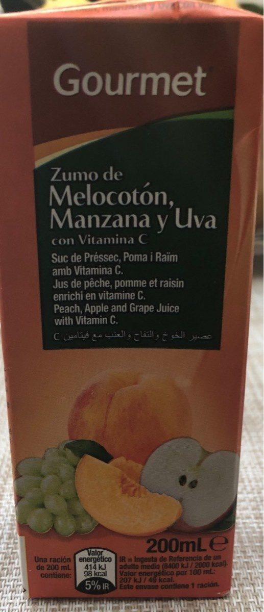 Zumo de melocotón , manzana y uva - Produit - fr