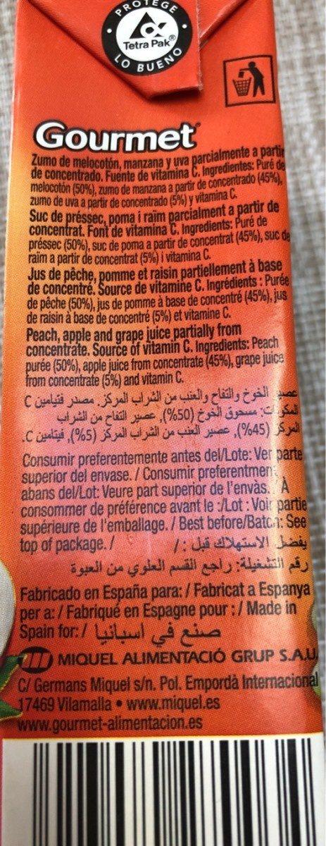 Zumo de melocotón , manzana y uva - Ingrédients - fr