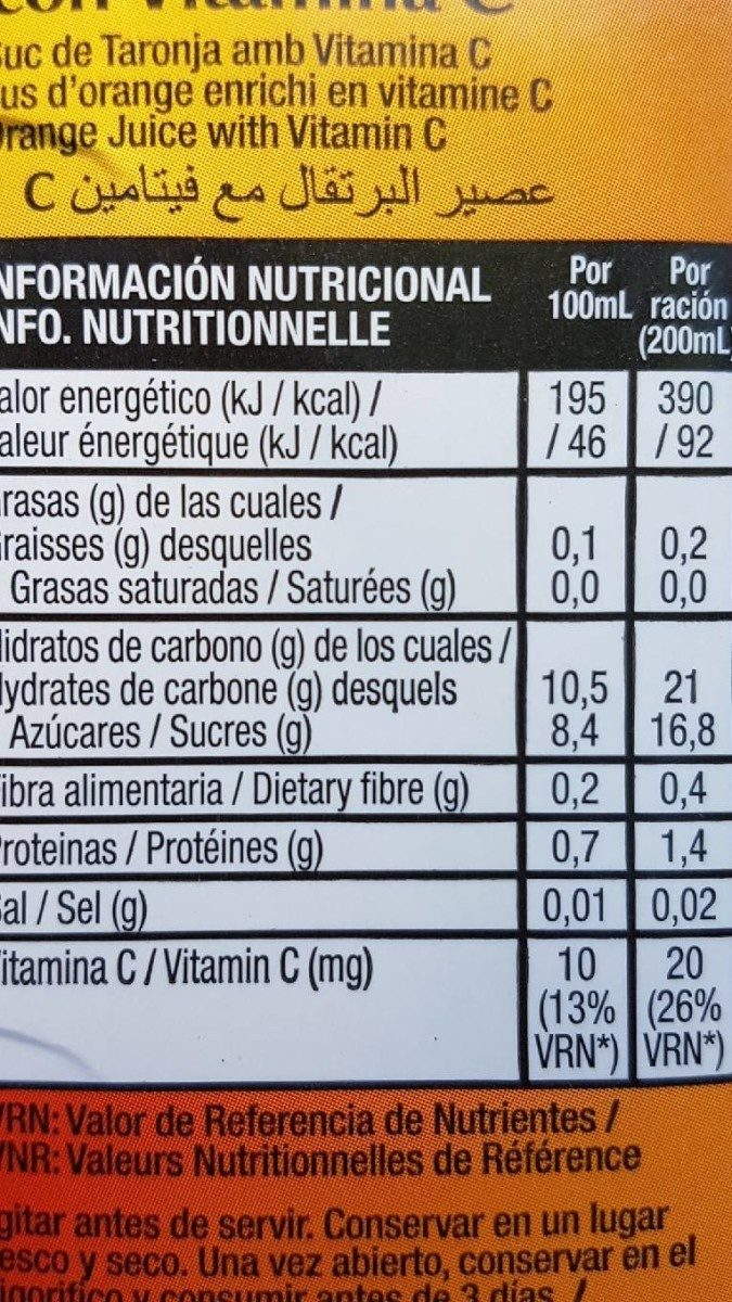 Zumo Gourmet Naranja 100% Brick - Información nutricional - fr