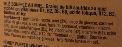 Trigo inflado con miel - Ingredients
