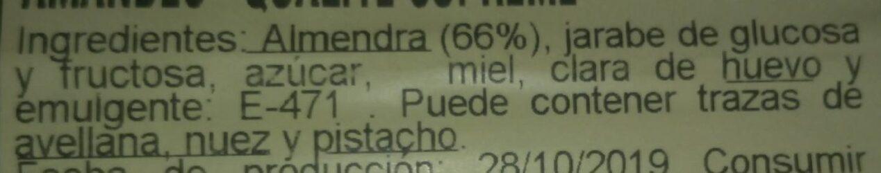 Turrón Blando de almendras - Ingredients