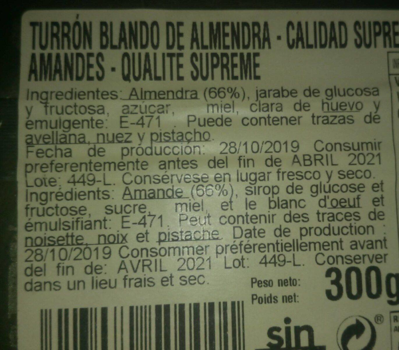Turrón Blando de almendras - Nutrition facts