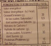 Turrón duro de almendras - Información nutricional