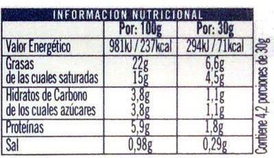 Queso para untar Ajo y Perejil - Información nutricional