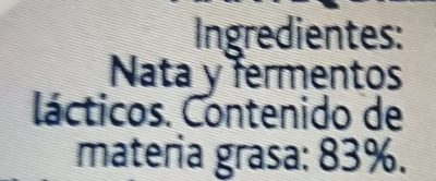 Mantequilla Arias S / Sal Pastilla - Ingredients