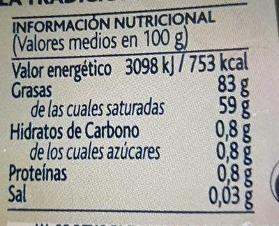 Mantequilla Arias S / Sal Pastilla - Informació nutricional