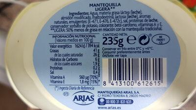 Arias Mantequilla Ligera - Ingredientes