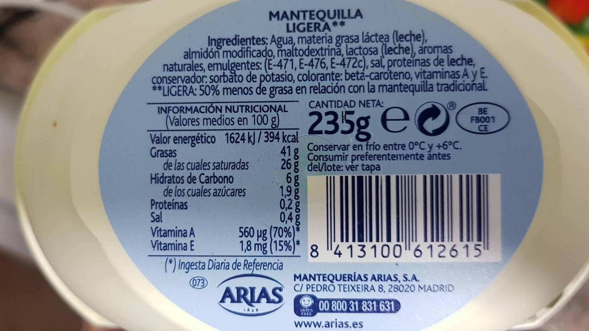 Arias Mantequilla Ligera - Ingredients - es