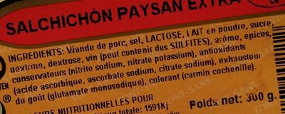 Salchichón paysan extra - Ingrédients - fr