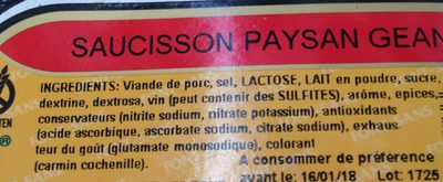 Saucisson paysan geant - Ingredients - fr