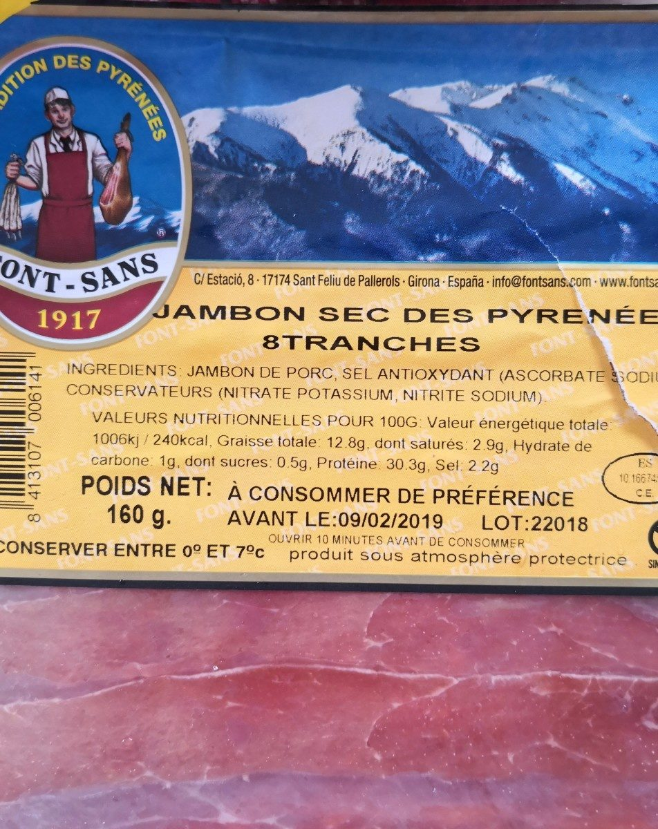 Jambon sec des Pyrénées - Ingredienti - fr