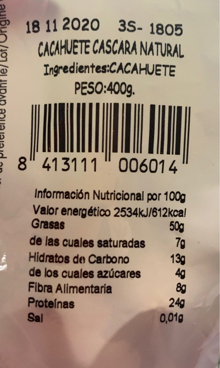 Cacahuetes - Пищевая и энергетическая ценность - es
