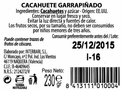 Cacahuete garrapiñado - Ingrediënten - es