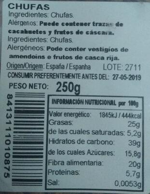 Chufas tarrina 250 g - Ingredients