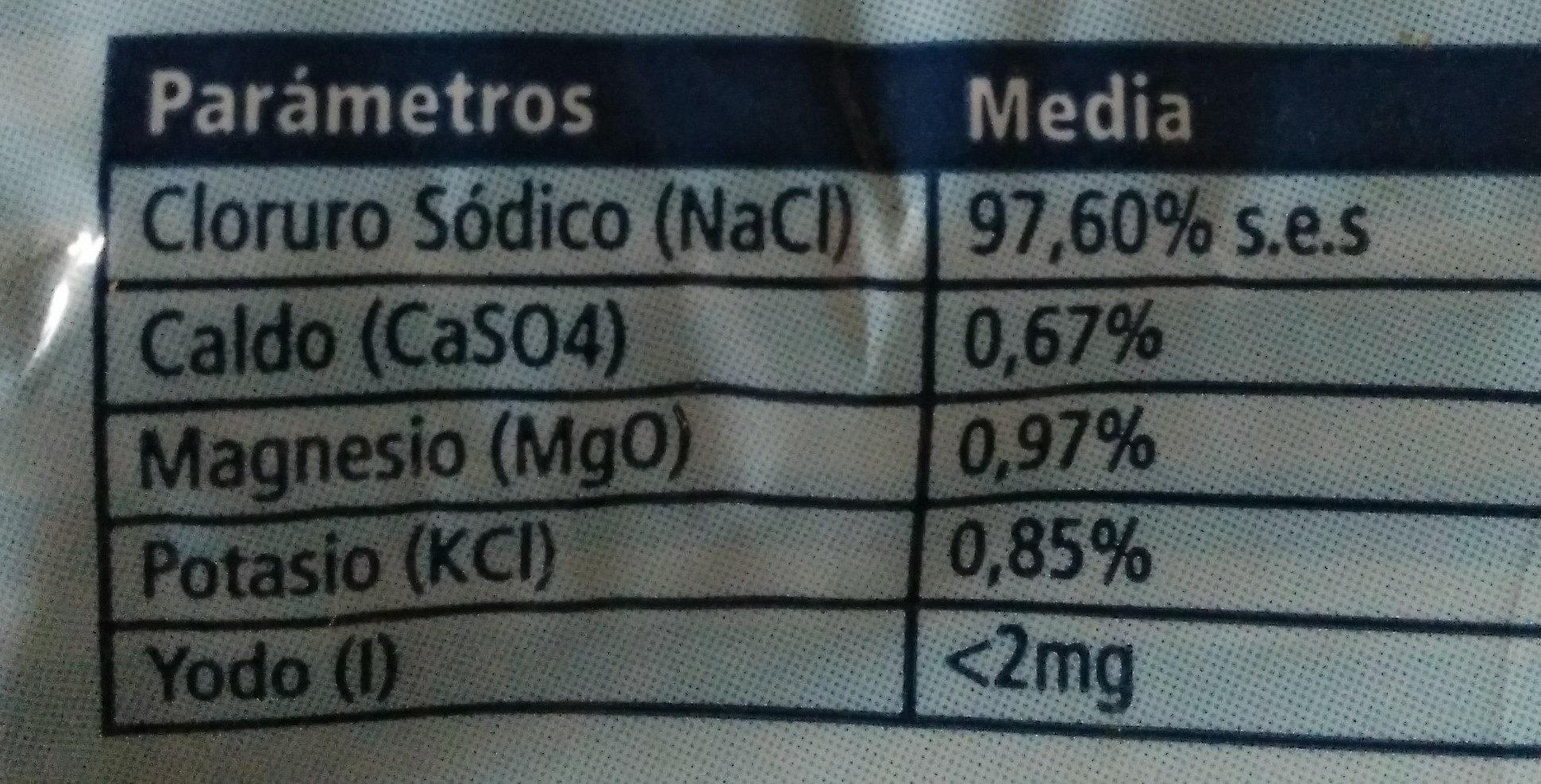 Sal marina fina - Nutrition facts