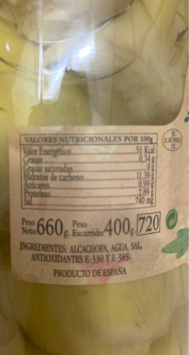 Corazones de alcachofas extra - Nutrition facts - es