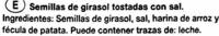 Semillas de girasol con cáscara tostadas con sal - Ingredientes - es