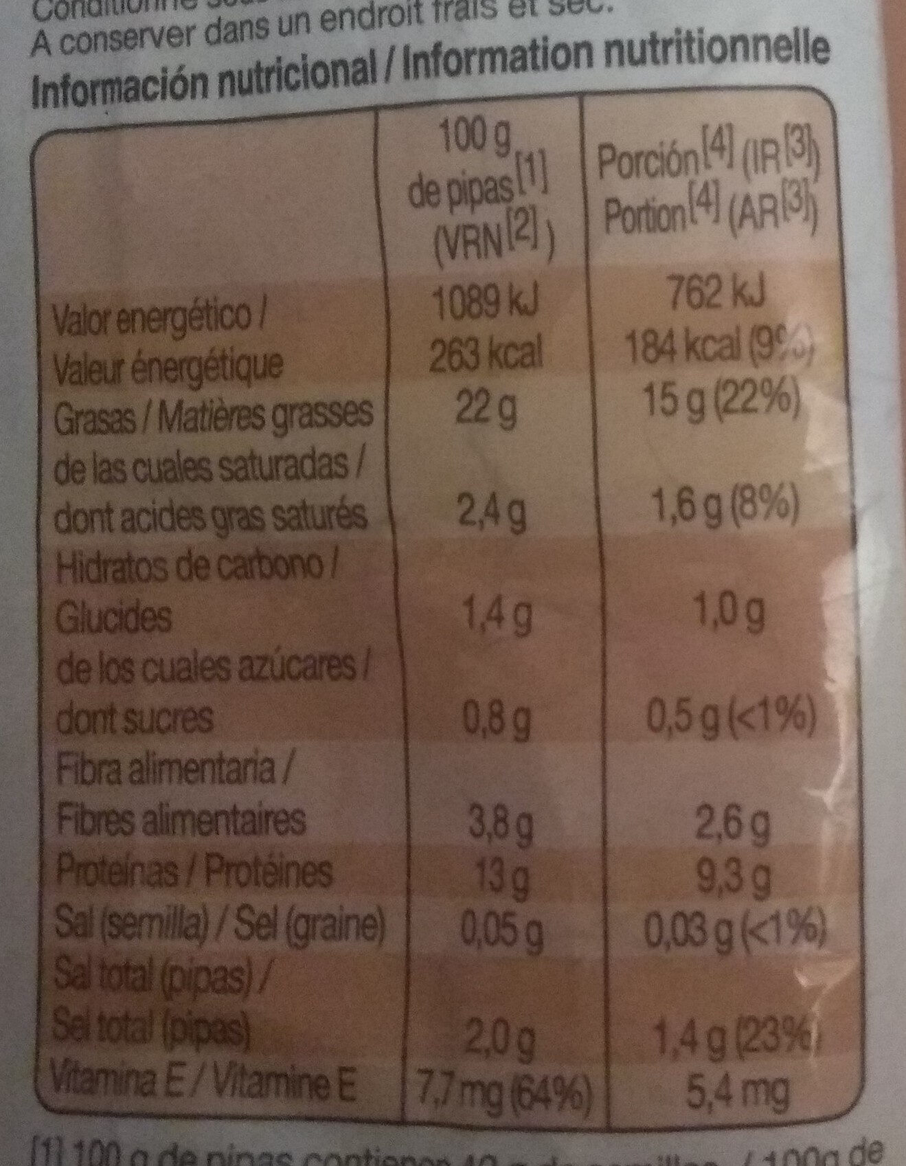 Grefusa Pipas Tijuana - Información nutricional