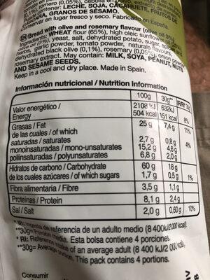 Snacks mediterráneos con olivas y romero - Nutrition facts - fr