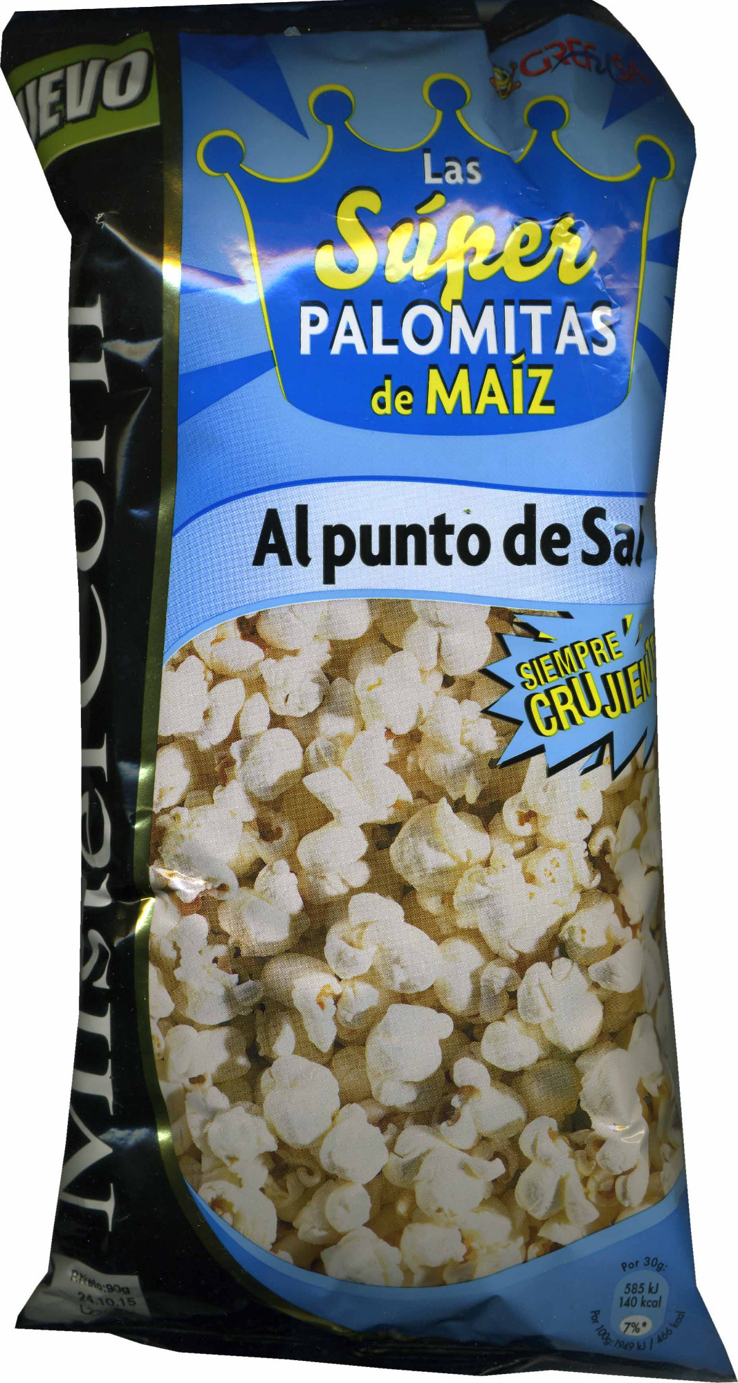Mister Corn palomitas al punto de sal bolsa 90 g - Producto