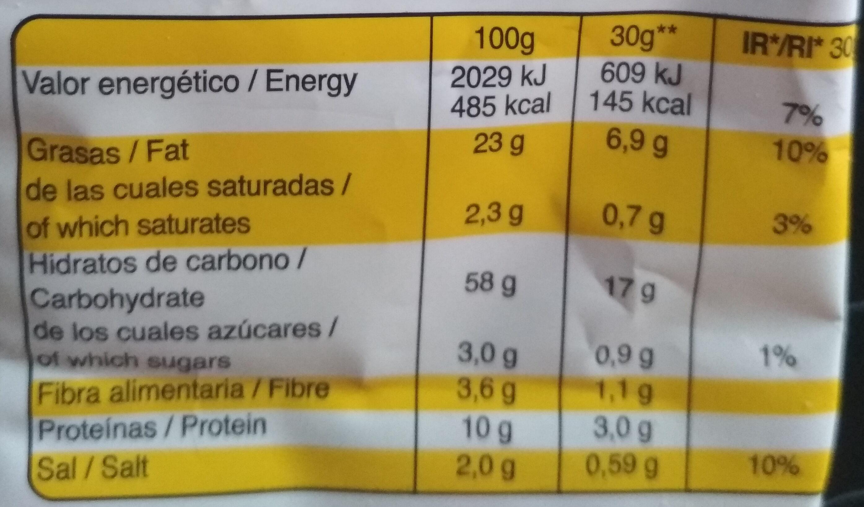 Snatt's mediterráneas queso - Información nutricional - es