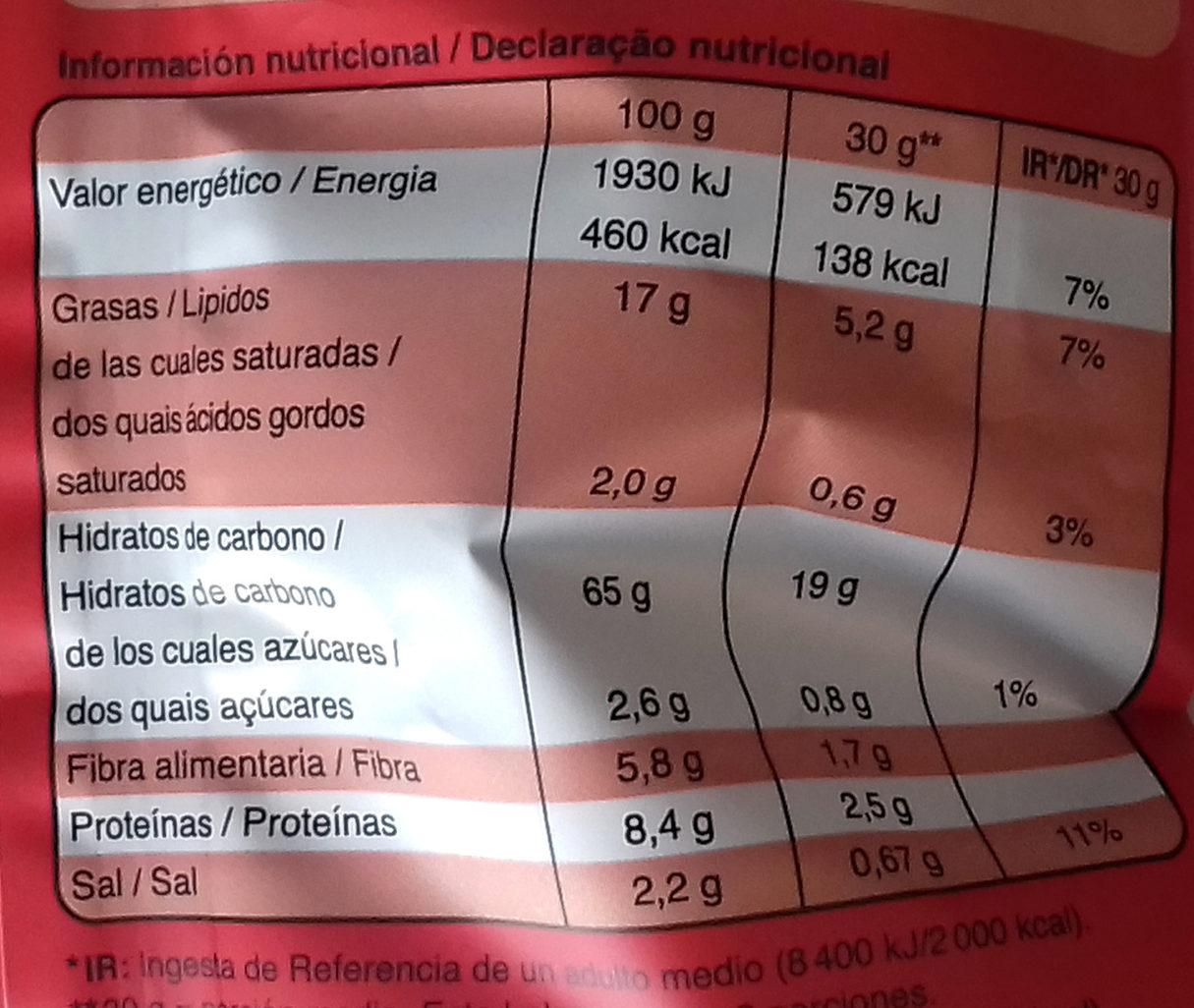 Quinoa snacks tomate y albahaca - Información nutricional