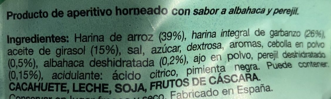 Hummus Snacks Albahaca y Perejil - Ingredients