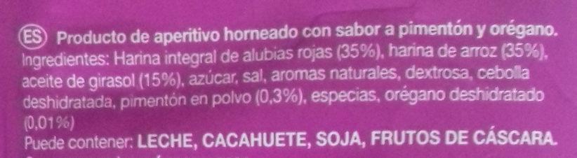 Alubia Snacks Pimentón y Orégano - Ingredients