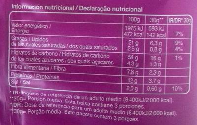 Alubia Snacks Pimentón y Orégano - Información nutricional