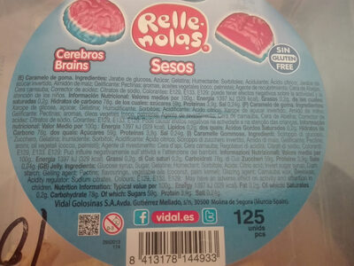 Rellenas, Cerebros Brains - Ingredients