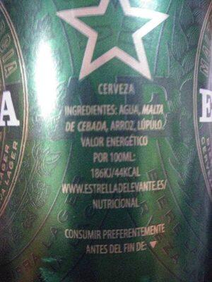 Cerveza Estrella de Levante - Ingredientes