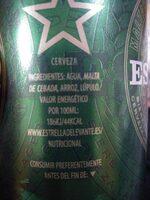 Cerveza Estrella de Levante - Información nutricional