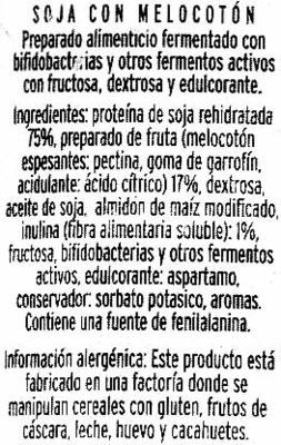 Soja melocotón con bífidus activo - Ingredients