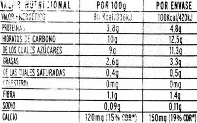 Soja melocotón con bífidus activo - Nutrition facts