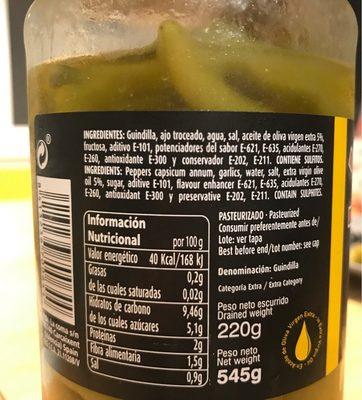Piparra dulce en aceite de oliva - Ingredientes