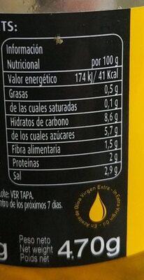 Piparra dulce en aceite de oliva - Información nutricional
