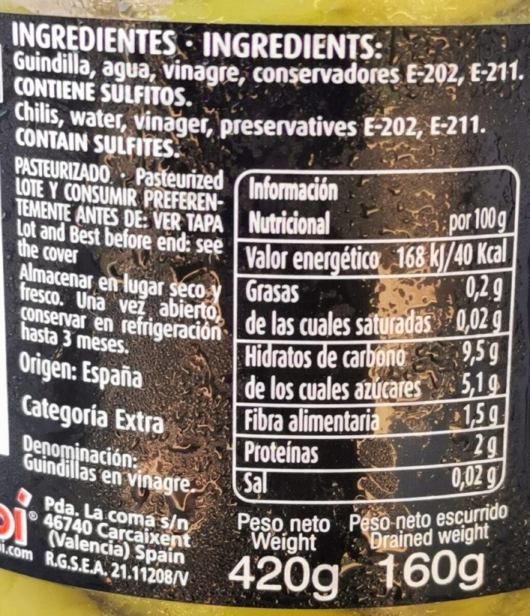 Guindilla vasca en vinagre - Nutrition facts