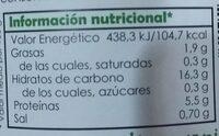 Garbanzos al natural de cultivo ecológico - Información nutricional - fr
