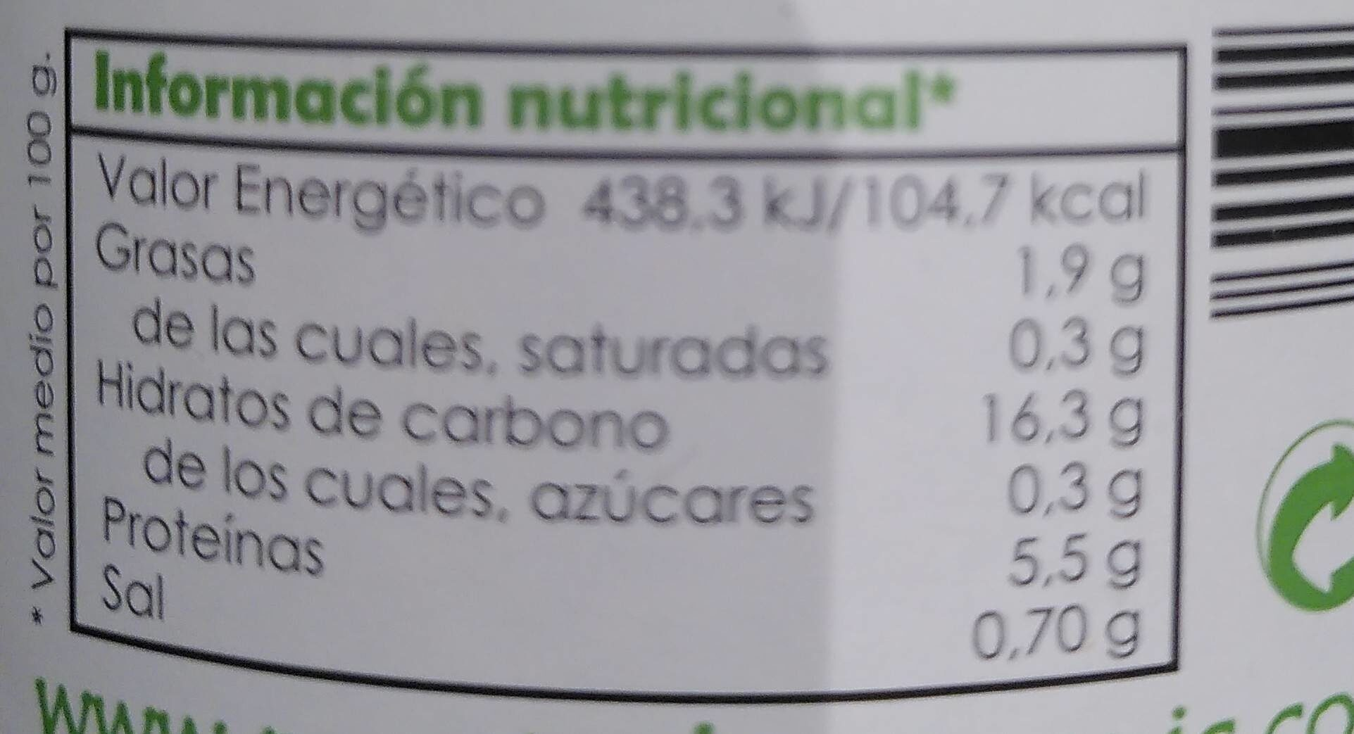 Garbanzos al natural de cultivo ecológico - Nutrition facts - fr