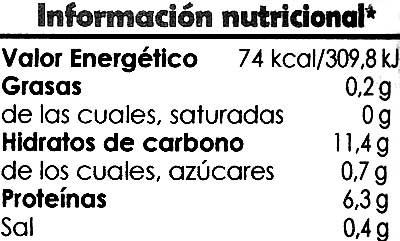 Lentejas al natural - Información nutricional - es